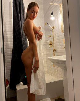 Beautiful Blonde At The Bathroom
